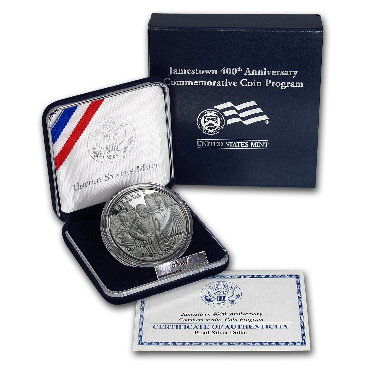 2007-P Jamestown 400th Anniv $1 Silver Commem Proof (w/Box & COA)